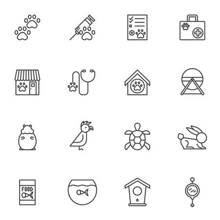 Pet shop line icons set. linear style symbols collection, outline signs pack. vector graphics. Set includes icons as veterinary clinic, injection syringe, animal paw, first aid kit, hamster, parrot Zdjęcie Seryjne - 134673210