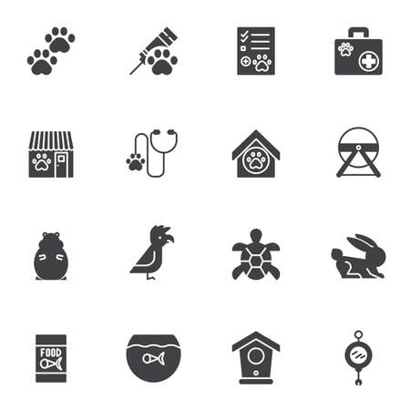 Pet shop vector icons set, modern solid symbol collection, filled style pictogram pack. Signs logo illustration. Set includes icons as veterinary clinic, injection syringe, animal paw, hamster, parrot Zdjęcie Seryjne - 134673253