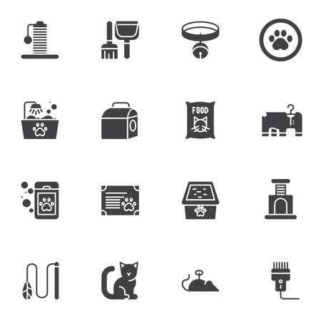 Pet shop vector icons set, modern solid symbol collection, filled style pictogram pack. Signs, logo illustration. Set includes icons as includes icons as cat food, kennel, scratching post, litter tray