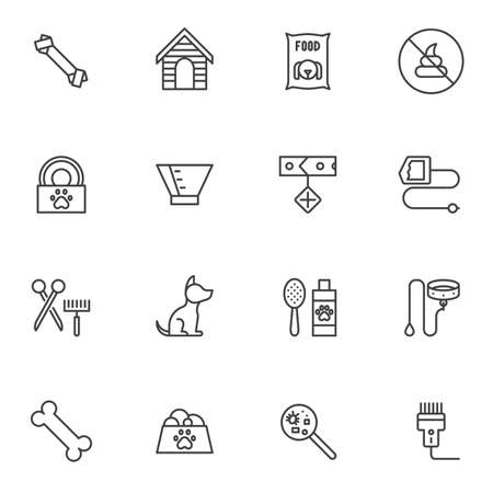 Pet shop line icons set. linear style symbols collection, outline signs pack. vector graphics. Set includes icons as dog food bowl, kennel house, collar, anti-flea shampoo, bone, protective cone