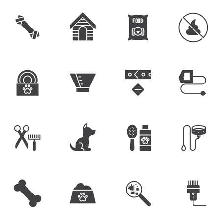 Pet shop vector icons set, modern solid symbol collection, filled style pictogram pack. Signs, logo illustration. Set includes icons as dog food bowl, kennel house, collar, anti-flea shampoo, bone