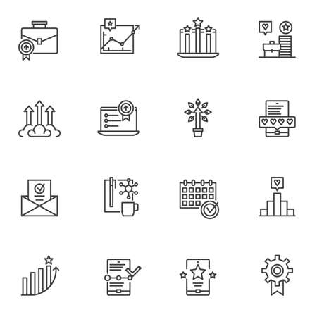 Business success line icons set. linear style symbols collection, outline signs pack. vector graphics. Set includes icons as growing graph, money tree, rating stars, feedback hearts, business diagram