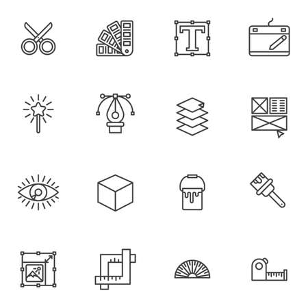 Graphic design tool line icons set. linear style symbols collection outline signs pack. vector graphics. Set include icons as scissors, color palette, text font size, pen tool, magic wand, paint brush Illustration