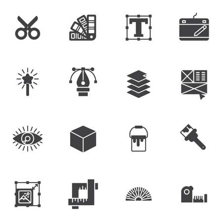 Graphic design tool vector icons set, modern solid symbol collection, filled style pictogram pack. Signs, logo illustration. Set includes icons as scissors, color palette, text font size, pen tool