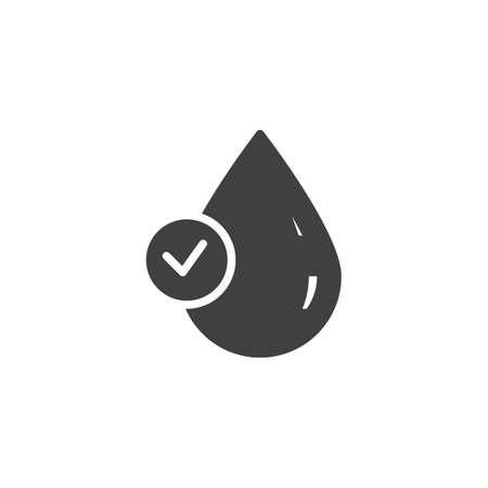 Clean water quality vector icon. Droplet with check mark filled flat sign for mobile concept and web design. Water drop with a tick glyph icon. Symbol, logo illustration. Vector graphics