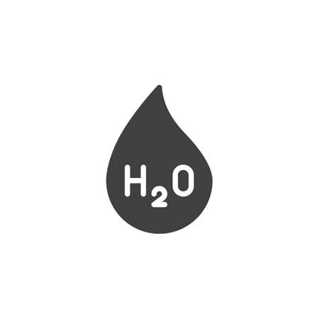 Water chemical formula vector icon. filled flat sign for mobile concept and web design. H2O water drop glyph icon. Symbol, logo illustration. Vector graphics