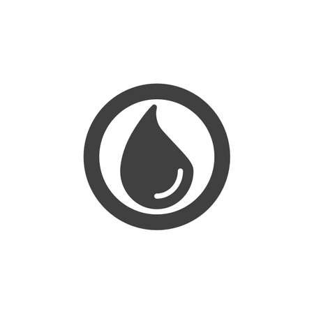 Water drop in circle vector icon. Droplet filled flat sign for mobile concept and web design. Oil drop glyph icon. Symbol, logo illustration. Vector graphics Ilustração