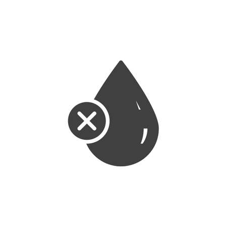 Poor water quality vector icon. Droplet with cancel filled flat sign for mobile concept and web design. Water drop delete glyph icon. Symbol, logo illustration. Vector graphics