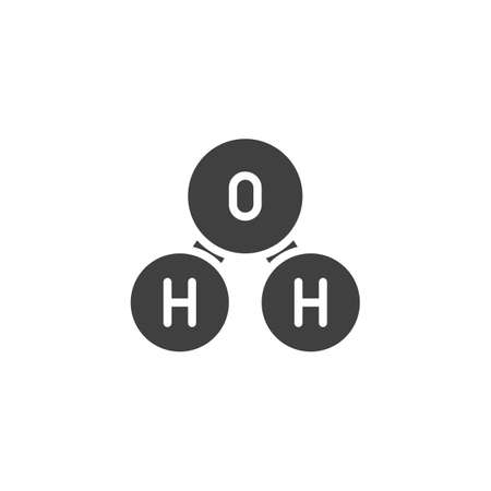 Oxygen molecule vector icon. filled flat sign for mobile concept and web design. H2O, water chemical formula glyph icon. Symbol, logo illustration. Vector graphics