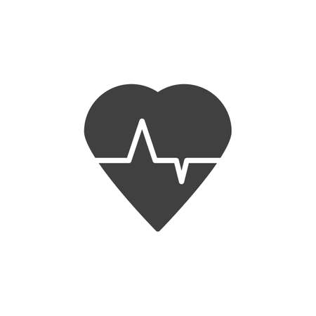 Heart cardiogram vector icon. Heartbeat filled flat sign for mobile concept and web design. Heart Beat Pulse glyph icon. Symbol, logo illustration. Vector graphics Illustration