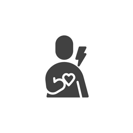 Human heart pain vector icon. filled flat sign for mobile concept and web design. Heart attack glyph icon. Cardiology symbol, logo illustration. Vector graphics
