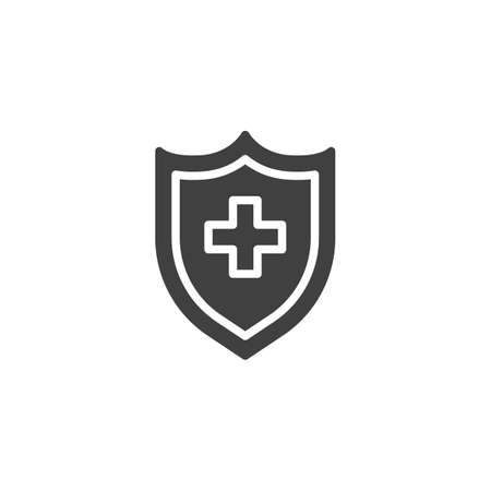 Medical insurance vector icon. filled flat sign for mobile concept and web design. Protection shield with medical cross glyph icon. Symbol, logo illustration. Vector graphics