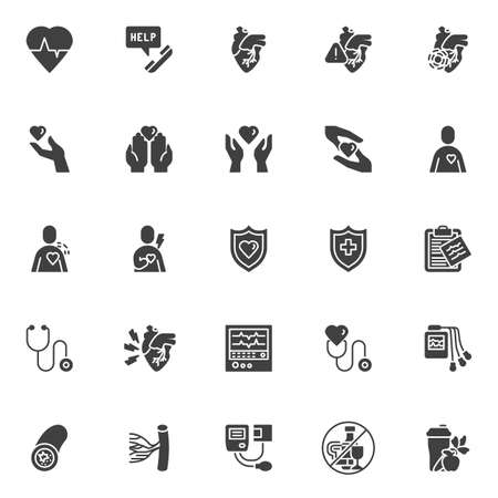 Heart health care vector icons set, modern solid symbol collection, filled style pictogram pack. Signs, logo illustration. Set includes icons as heart attack, heartbeat, ecg machine, pulse cardiogram