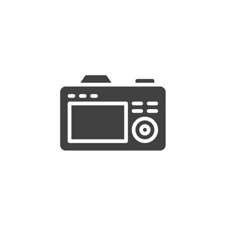 Camera back side screen vector icon. filled flat sign for mobile concept and web design. Photo camera viewfinder display glyph icon. Symbol, logo illustration. Vector graphics