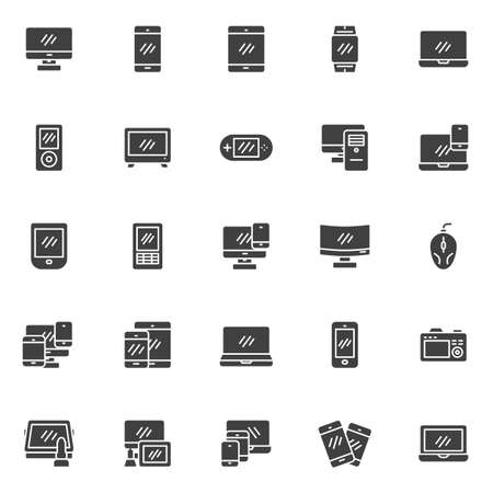 Digital devices vector icons set, modern solid symbol collection, filled style pictogram pack. Signs, logo illustration. Set includes icons as computer monitor screen, smartphone, laptop, smartwatch Logó