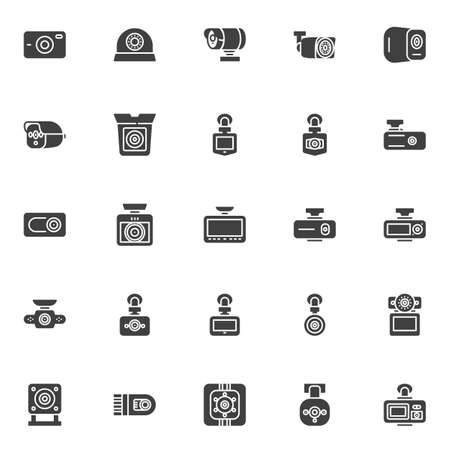 DVR camera vector icons set, modern solid symbol collection, filled style pictogram pack. Signs, logo illustration. Set includes icons as Digital video recorder, car security system, video recorder