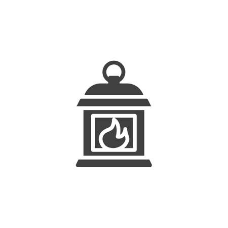 Gas lantern with burning light vector icon. filled flat sign for mobile concept and web design. Standard-Bild - 134739928