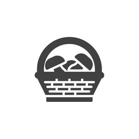 Mushroom basket vector icon. filled flat sign for mobile concept and web design. Wicker basket with mushrooms glyph icon. Harvest symbol, logo illustration. Vector graphics 일러스트
