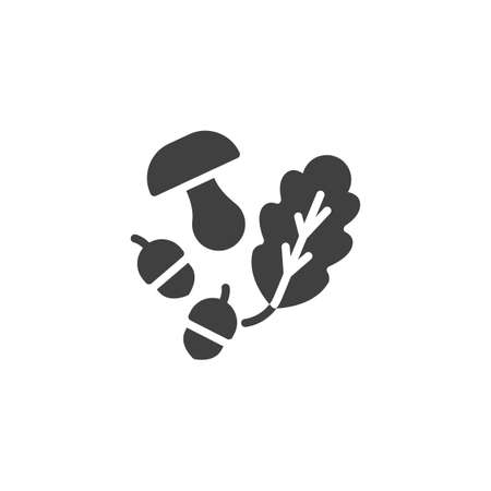 Oak leaf acorns and mushroom vector icon. filled flat sign for mobile concept and web design. Forest harvest glyph icon. Symbol, logo illustration. Vector graphics 일러스트