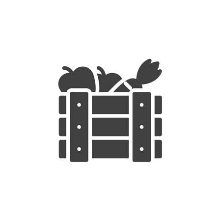 Fruits crate box vector icon. filled flat sign for mobile concept and web design. Wooden box with carrots and apples glyph icon. Symbol, logo illustration. Vector graphics