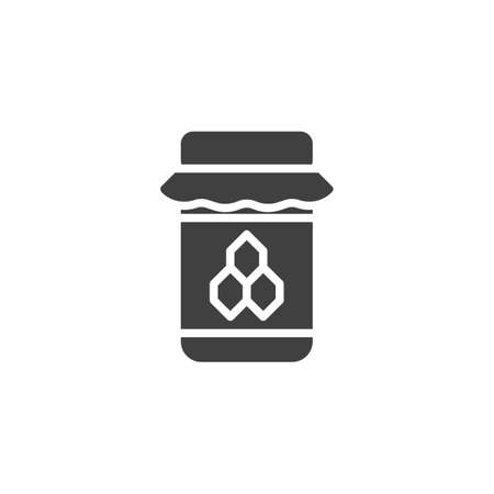 Honey Jar vector icon. filled flat sign for mobile concept and web design. Bee honey jar glyph icon. Symbol, logo illustration. Vector graphics 일러스트