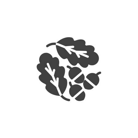 Oak leaves and acorns vector icon. filled flat sign for mobile concept and web design. Oak tree leaves and nuts glyph icon. Symbol, logo illustration. Vector graphics