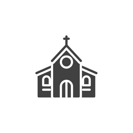 Church with cross vector icon. filled flat sign for mobile concept and web design. Church building glyph icon. Symbol, logo illustration. Vector graphics