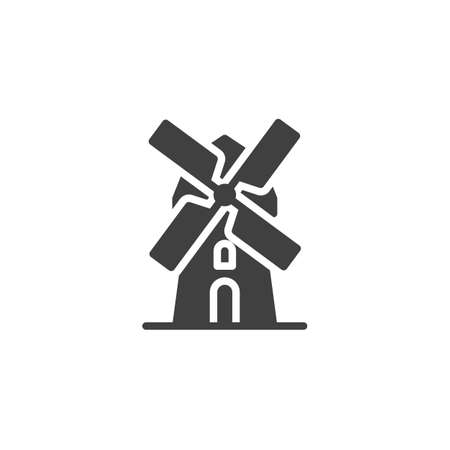 Windmill vector icon. filled flat sign for mobile concept and web design. Mill glyph icon. Symbol, logo illustration. Vector graphics 일러스트