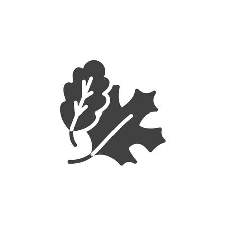 Maple and oak leaves vector icon. filled flat sign for mobile concept and web design. Oak leaf and maple glyph icon. Symbol, logo illustration. Vector graphics