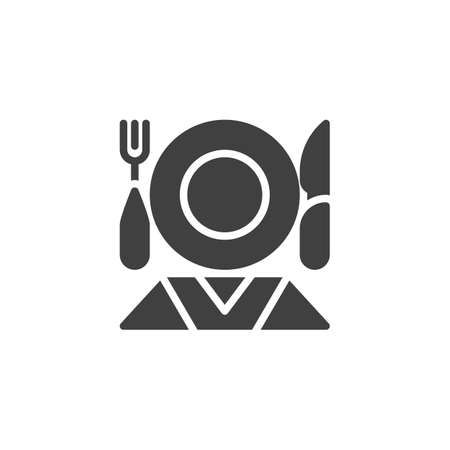 Table setting vector icon. Cutlery filled flat sign for mobile concept and web design. Plate, knife fork napkin glyph icon. Restaurant symbol, logo illustration. Vector graphics