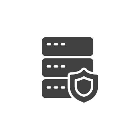 Web hosting protection vector icon. filled flat sign for mobile concept and web design. Database server security shield glyph icon. Symbol, logo illustration. Vector graphics