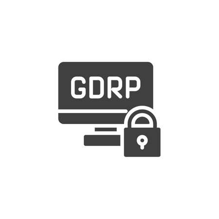 GDPR computer monitor vector icon. filled flat sign for mobile concept and web design. Computer data protection glyph icon. Symbol, logo illustration. Vector graphics