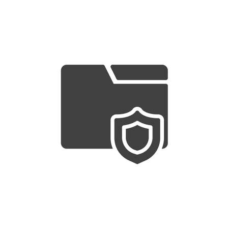 File folder lock vector icon. filled flat sign for mobile concept and web design. File protection glyph icon. 일러스트