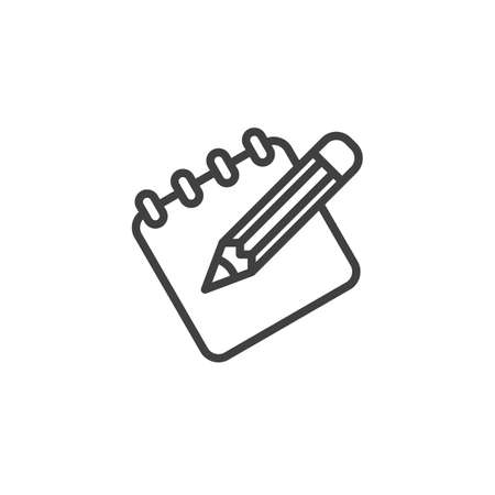 Note paper and pencil line icon. linear style sign for mobile concept and web design.
