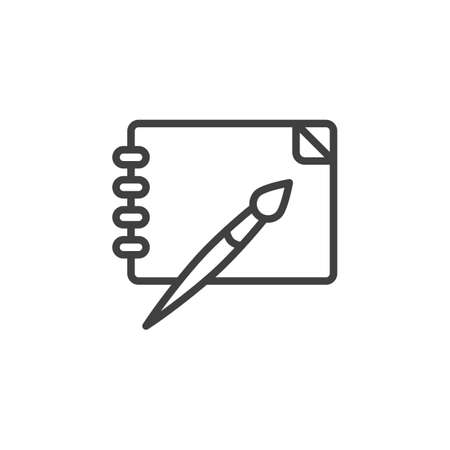 Drawing tool line icon. linear style sign for mobile concept and web design. Note pad with paint brush outline vector icon. Illustration