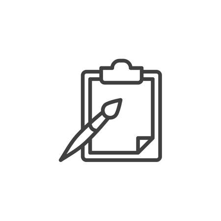 Paint brush and paper clipboard line icon. linear style sign for mobile concept and web design.