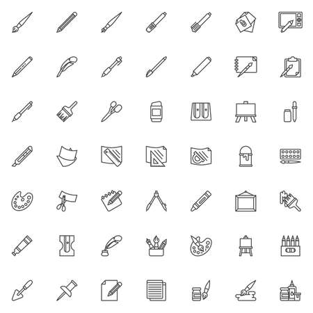 Drawing tools line icons set. Art supplies linear style symbols collection, outline signs pack. vector graphics. Illustration