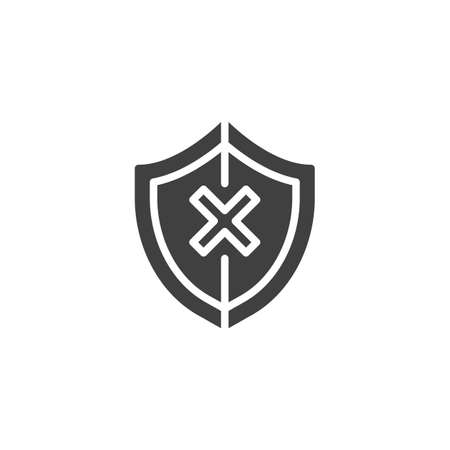 Shield insecure vector icon. filled flat sign for mobile concept and web design. Security shield with cross glyph icon.