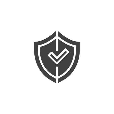 Shield with check mark vector icon. filled flat sign for mobile concept and web design. Illustration
