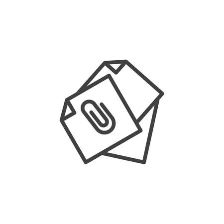 Attached document files line icon. linear style sign for mobile concept and web design.