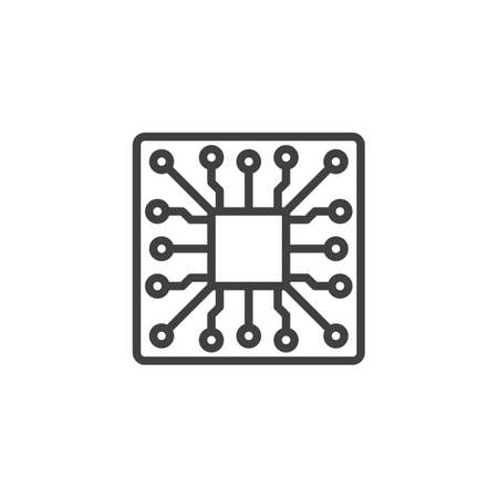 Electronic circuit board with processor line icon. Microchip linear style sign for mobile concept and web design. CPU, Processor outline vector icon. Symbol, logo illustration. Vector graphics  イラスト・ベクター素材