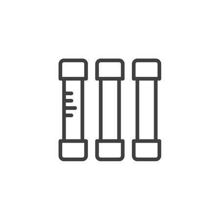 Icono de línea de fusibles eléctricos. signo de estilo lineal para concepto móvil y diseño web. Icono de vector de contorno de fusible de vidrio. Símbolo, ilustración de logotipo. Gráficos vectoriales Logos