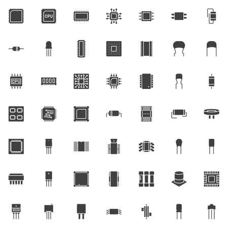 Vektorsymbole für Computerkomponenten, moderne solide Symbolsammlung des CPU-Chips, gefülltes Piktogrammpaket im Stil. Zeichen, Logoillustration. Das Set enthält Symbole wie Computer-Mikroprozessor, Mikrochip-Schaltung Logo