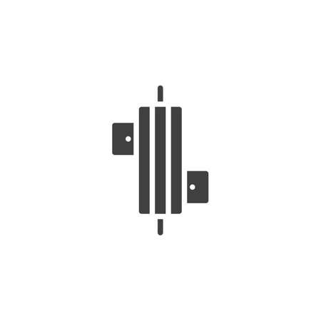 Power resistor vector icon. Microchip filled flat sign for mobile concept and web design. CPU, chip glyph icon. Symbol, logo illustration. Vector graphics