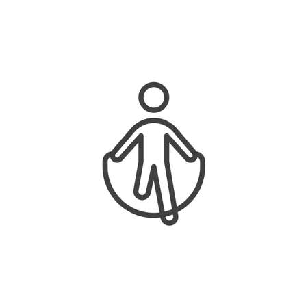 Skipping rope exercise line icon. linear style sign for mobile concept and web design. Man jumping with skipping rope outline vector icon. Symbol, logo illustration. Vector graphics Reklamní fotografie - 135407378