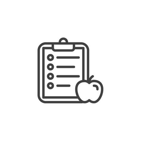 Diet planning list line icon. Apple and paper clipboard linear style sign for mobile concept and web design. Healthy food plan checklist outline vector icon. Symbol, logo illustration. Vector graphics