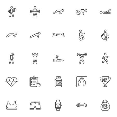 Fitness exercise line icons set. Sport equipment linear style symbols collection, outline signs pack. vector graphics. Set includes icons as weight, kettlebell, barbell, dumbbell, weight lifting, gym Ilustrace