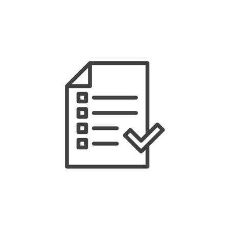 Checklist with check mark line icon. linear style sign for mobile concept and web design. Approved checklist box outline vector icon.