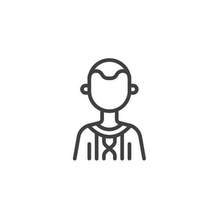 Country boy avatar line icon. Male user linear style sign for mobile concept and web design. Faceless man portrait outline vector icon. Ilustração
