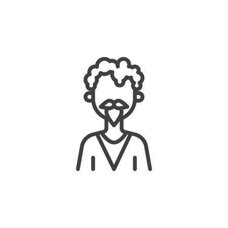 Curly hair man with mustache avatar line icon. linear style sign for mobile concept and web design. Faceless man portrait outline vector icon. Symbol,  illustration. Vector graphics